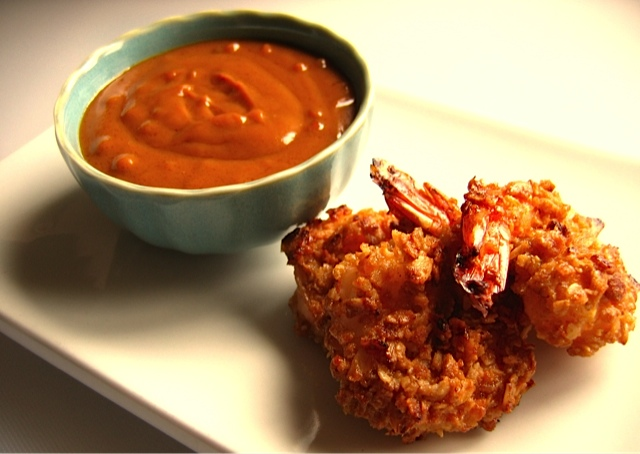 Flapjack Shrimp with Thai-styled caramel dipping sauce.